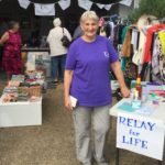 Heather Walsh at Relay For Life garage sale fundraiser