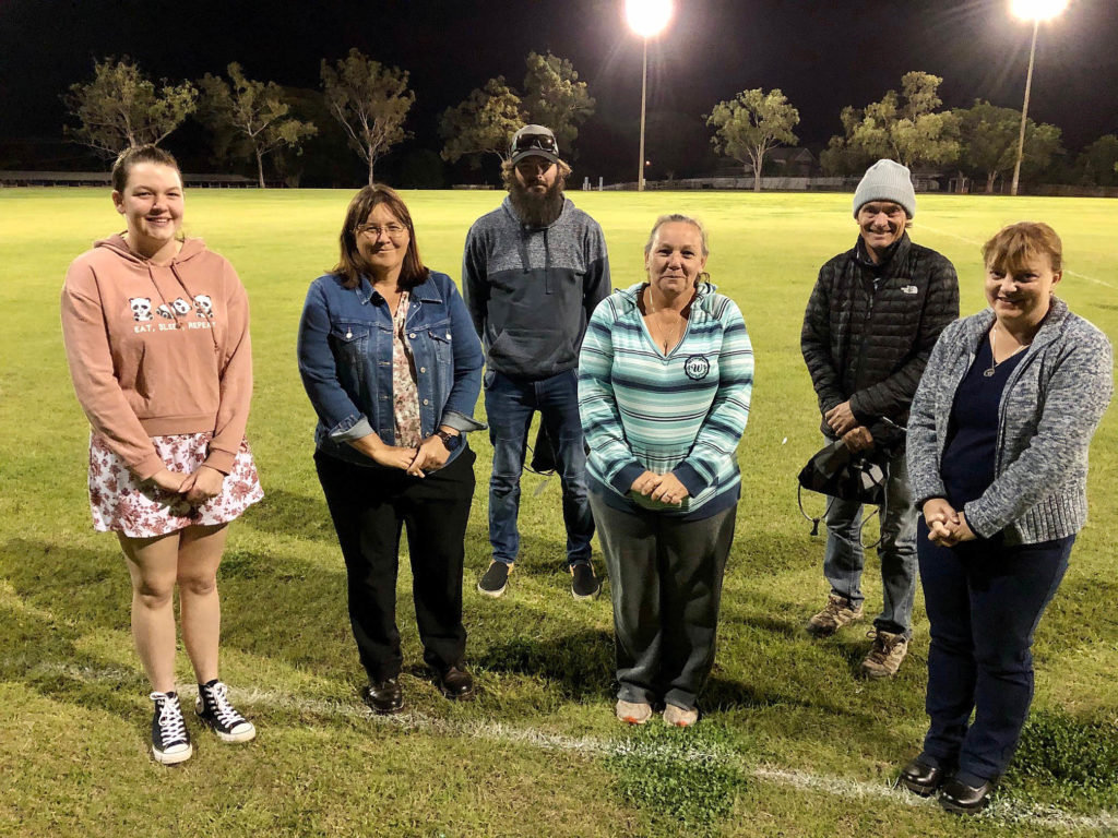 Club members recognised for their outstanding contribution to the club were Wayne Pharaoh and Andrew Cole at rear and (front from left) Jessie-May Volz, Kerri Wills, Yvonne Rowe and Rachel Martin.