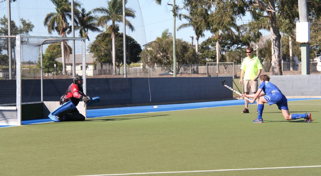 Waves Cities' Lachlan McLennan converts from a penalty stroke in their men's victory over Arrows/Athletics last Saturday