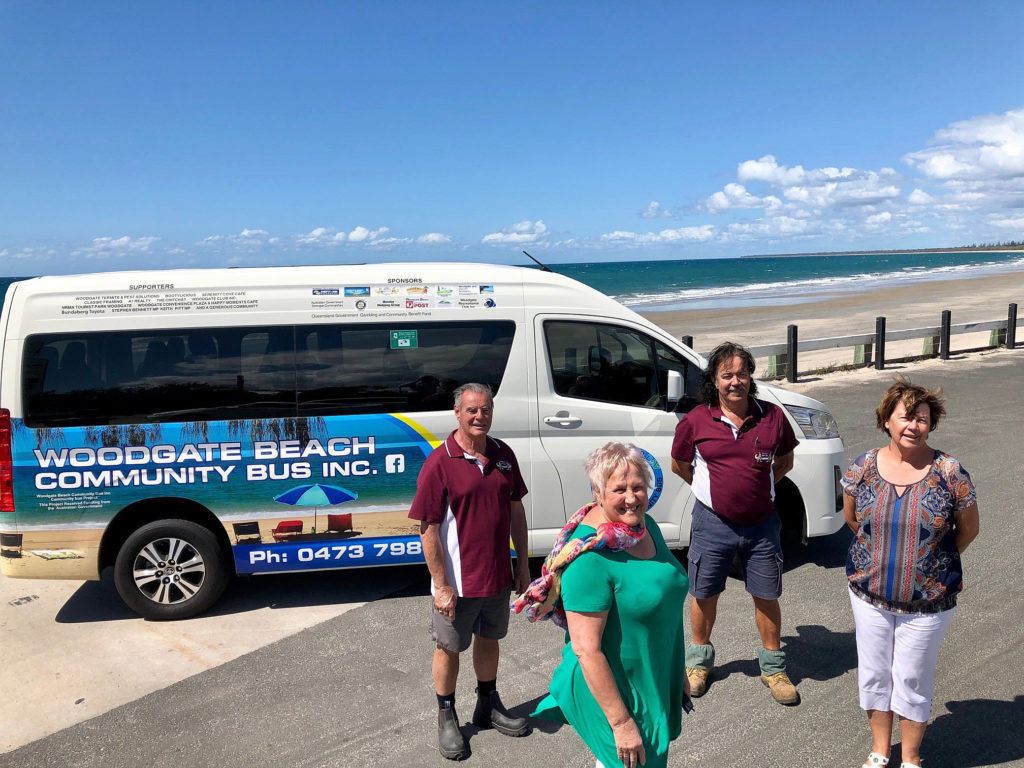 Bright, bold and beautiful. The new Woodgate Beach Community Bus is an unmissable sight throughout the region. Celebrating the new bus are (from left) Men's Shed representatives Russell Perrett (President) and Bruce Andrews (Secretary) and Bus Committee members Margaret Featherstone (President) and Pauline Greer (Secretary).