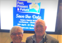 Rotary District Governor Adele Hughes and husband Wade.