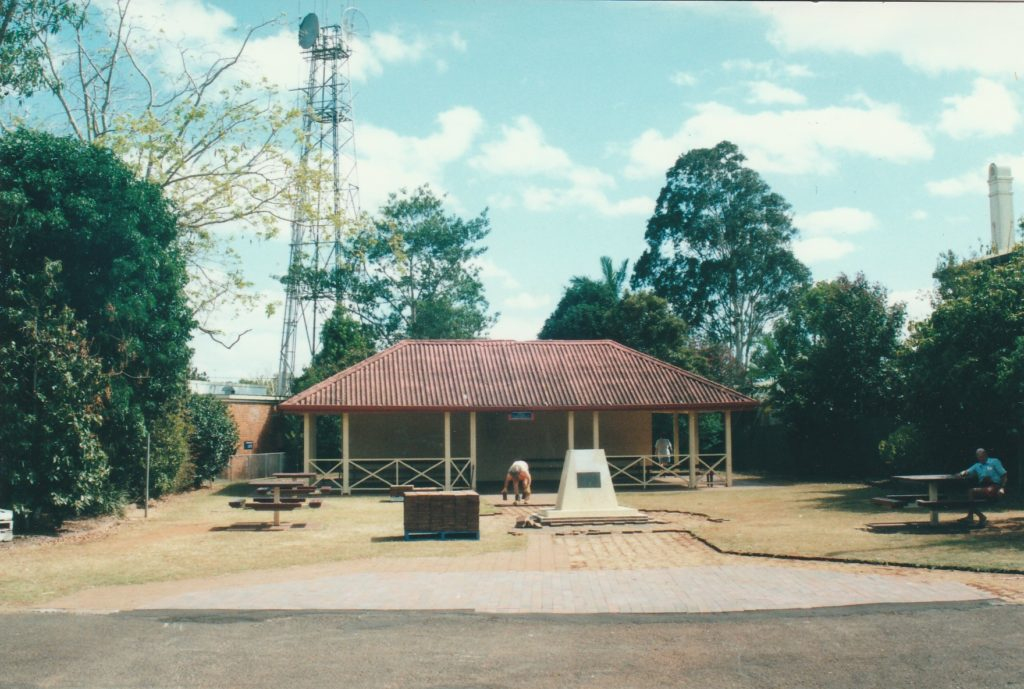 The original site for the Childers 50 years Time Capsule Cairn was in the centre of Clock Tower Park prior to its redevelopment and renaming as Millennium Park in 2000.
