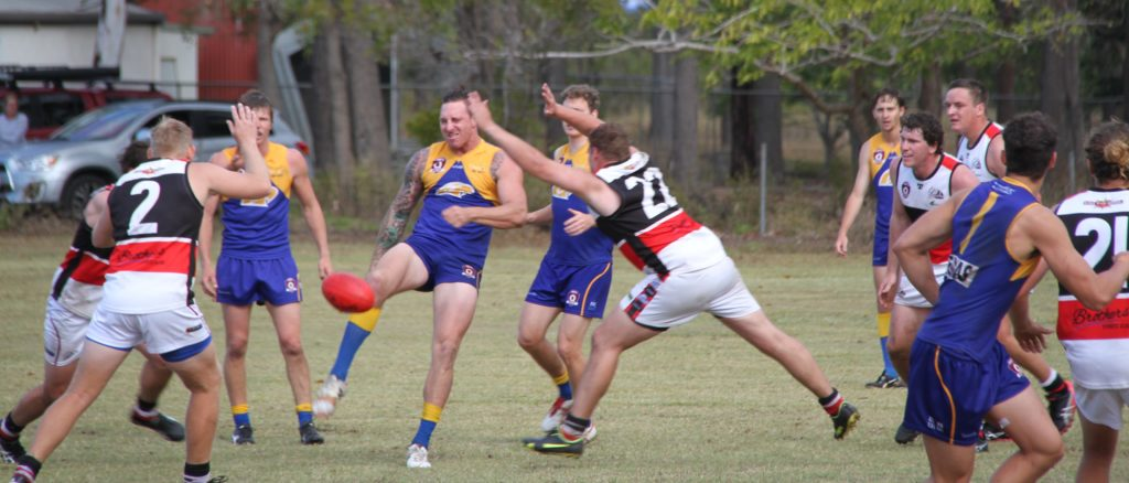 ATW EAgles' Ethan Hawkins goes for goal in their AFL last round win over Brothers Bulldogs