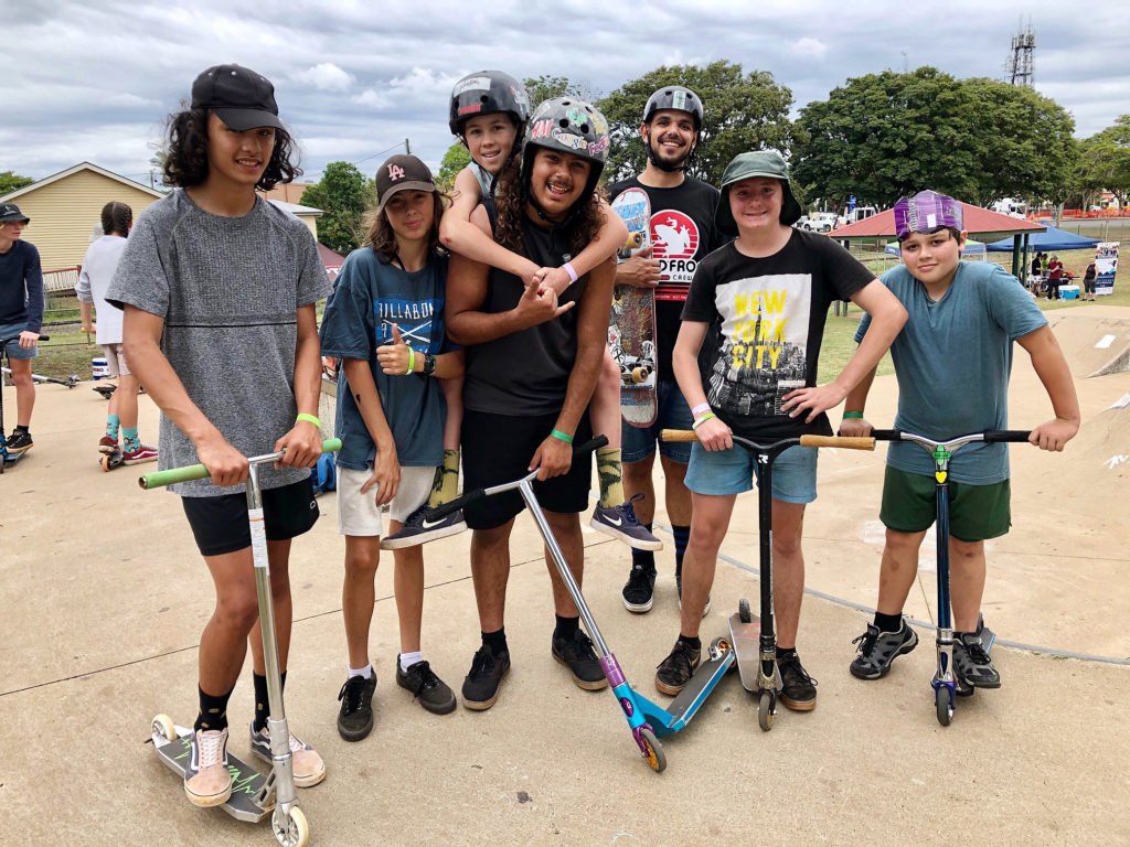 Enjoying the Skate with a Mate day at the Childers Skatepark were riders (from left) Tylah Dunn, Deon Cutting, Seth Frazer, Santarr Pettitt, Tamatoa Heard, Tristian Strange and Teonewa.