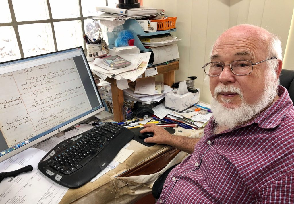 History buff Merv Hopton where he spends much of his day pursuing his passion for researching local history.