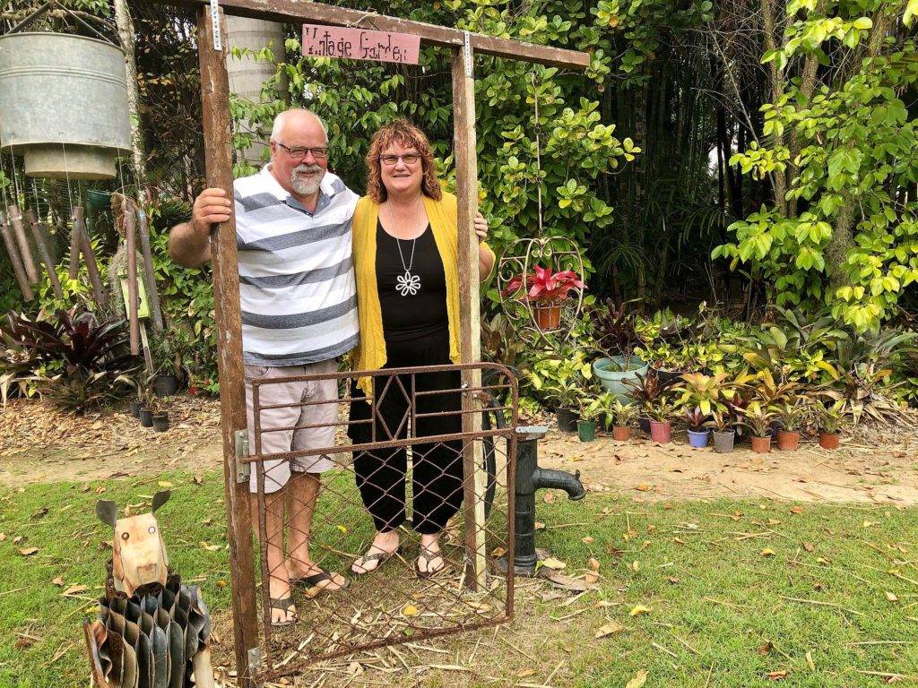 Michael and Janine Tyler with one of the eye-catching installations at their Alloway property.