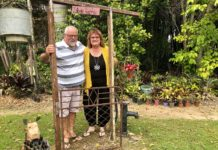 Michael and Janine Tyler at one of the eye-catching installations in their garden at Alloway.