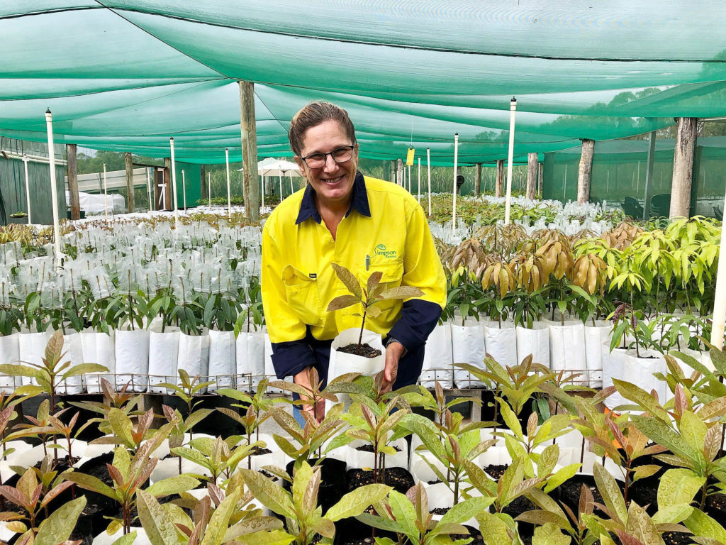 Simpson Farms Nursery Manager Sonia Furlonger at work in the greenhouse.