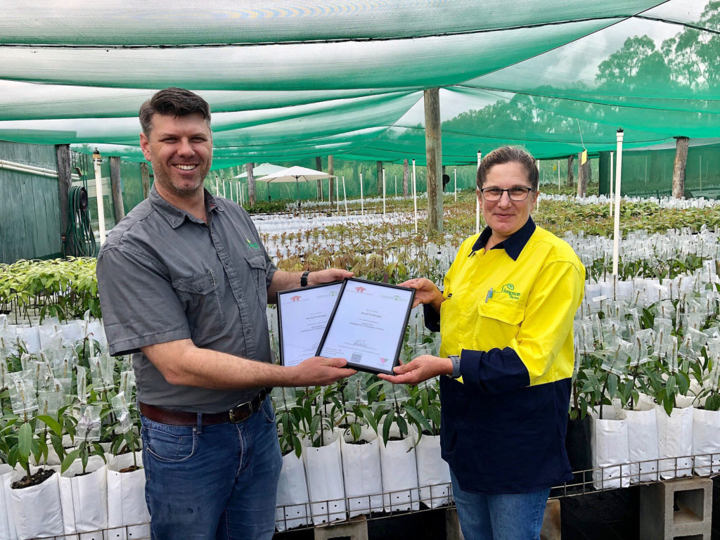 Sonia Furlonger pictured with Simpson Farms Executive Director Simon Grabbe following the presentation of her dual certificates.