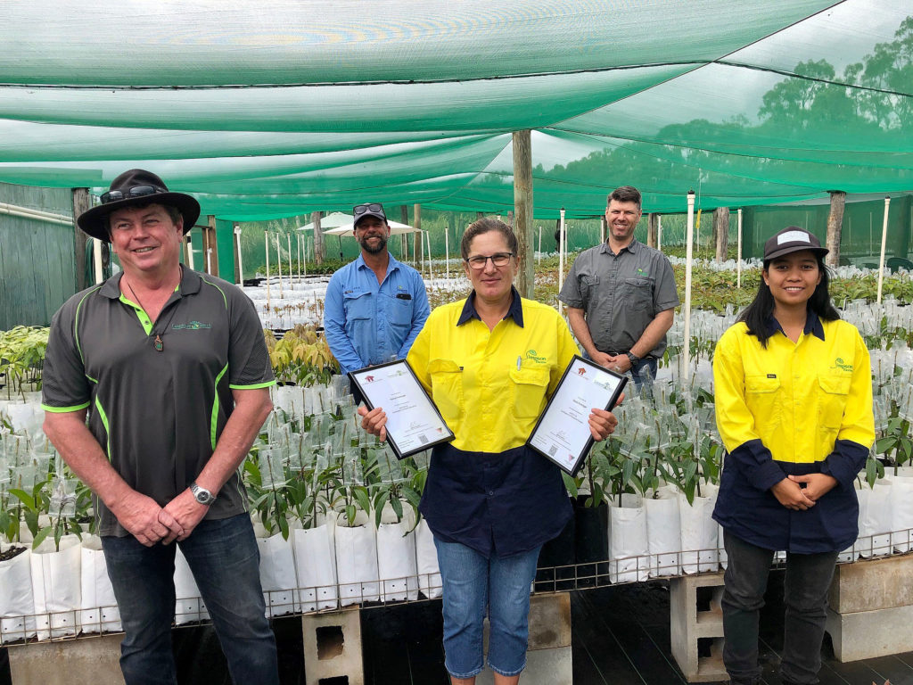 Celebrating her recently achieved dual horticultural qualifications is Simpson Farms Nursery Manager Sonia Furlonger. Also pictured are Shaun Waterton, Trainer with Queensland Small Business Courses and horticultural assistant Mary Ann Rivera (front) and Simpson Farms Executive Director Simon Crabbe (rear, right) and Operations Manager Dale Schneider.