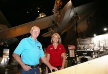 Supervisor at Hinkler Hall of Aviation Tracey Kelly and Volunteer Geoff Woodspey