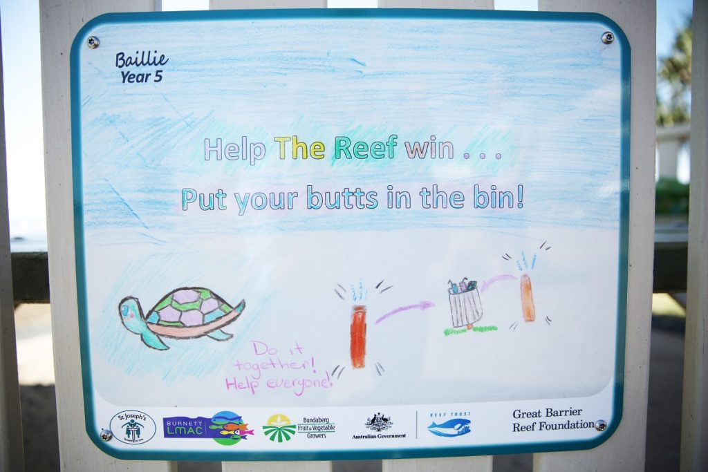 Help the reef win, put your butts in the bin