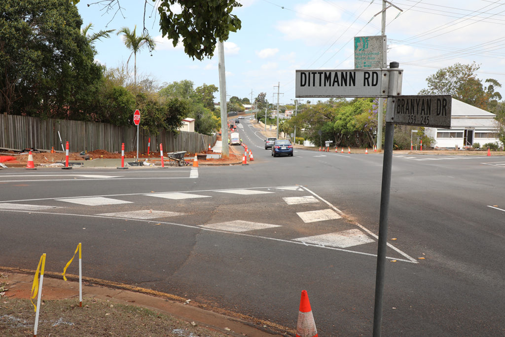 Branyan and Dittmann Road intersection where road works have rec