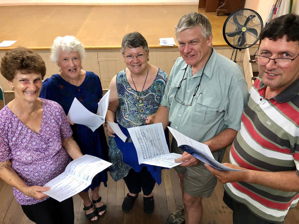 Voices united in song. Members of the Childers Choral Society at rehearsal this week. From left: Merle Gallehawk, Dilys Griffiths, Susan Wood, David Horner and Peter Anderson.