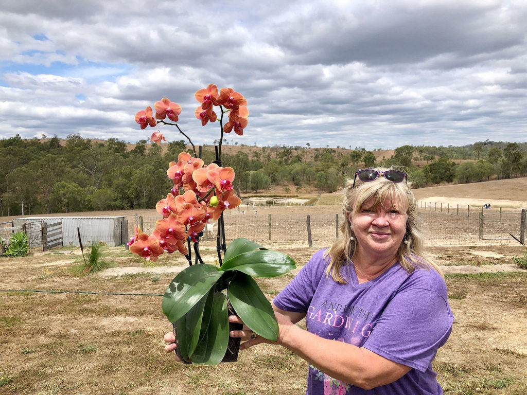 Pat Jackson with a beautiful orchid held aloft and showing the glorious countryside surrounding their home on Duckpond Road.