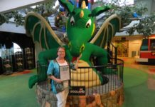 Shontelle Lewis with her LEGO Education Teacher Award 2017 pictured with Spiro the dragon