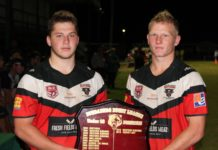 Wests Panthers co-captains Jensen Deamer and Joel Baldwin with the Bundaberg Under-18 Premiership Shield after their Bundaberg Rugby League Grand Final victory