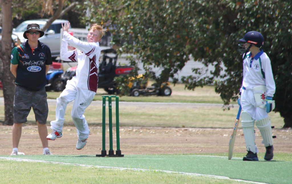 William Fletcher sends down a delivery in their Junior Cricket 2 clash with Brothers on Saturday