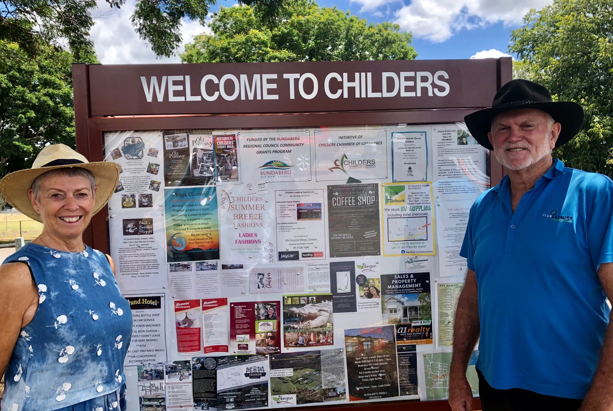 Mobile home travellers with the sign featuring Childers traders